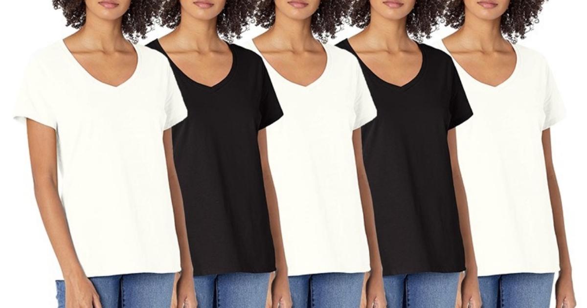 Women's 5-Pack Hanes Short Sleeve V-Neck Cotton Tee White & Black