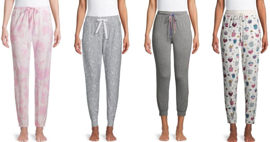 four women wearing pajama pants