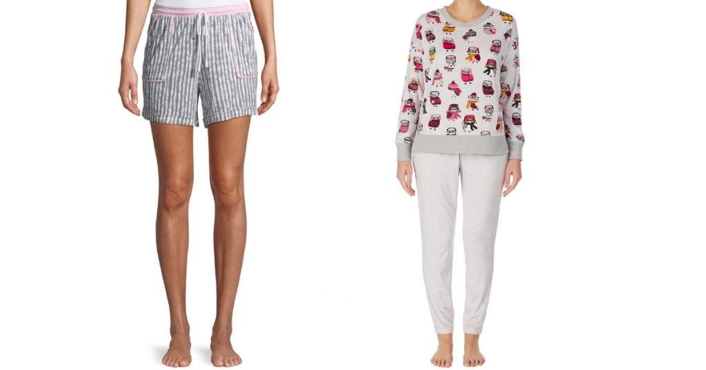 woman wearing shorts and a woman wearing pajamas