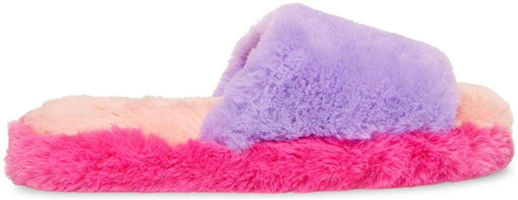 steve madden rainbow fuzzy slipper
