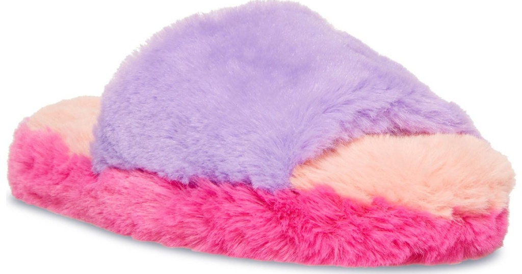 steve madden rainbow furry women's slippers