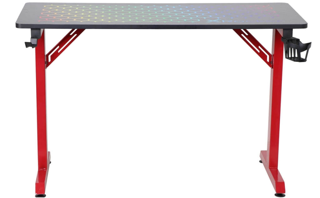 large gaming desk with red legs