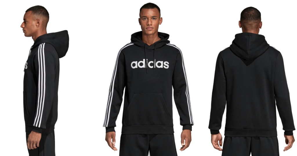 man wearing black hoodie in three poses