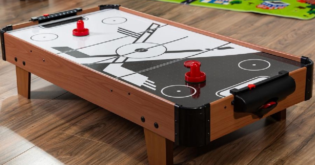 air hockey table on the floor