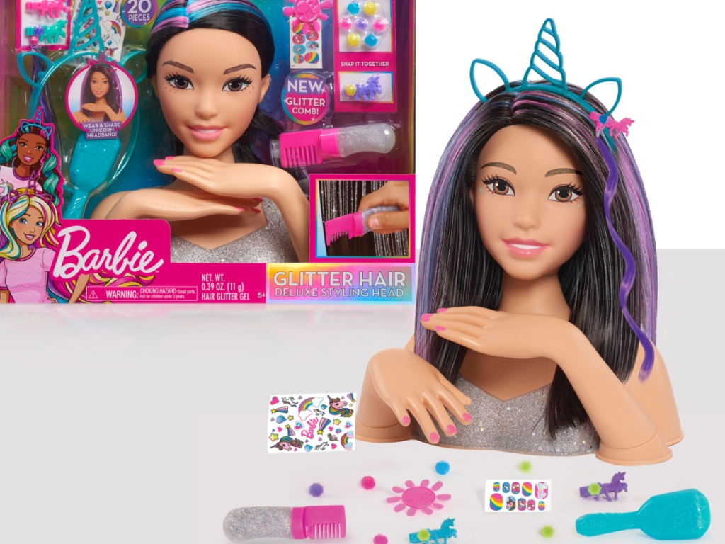 barbie styling head in box and outside of the box