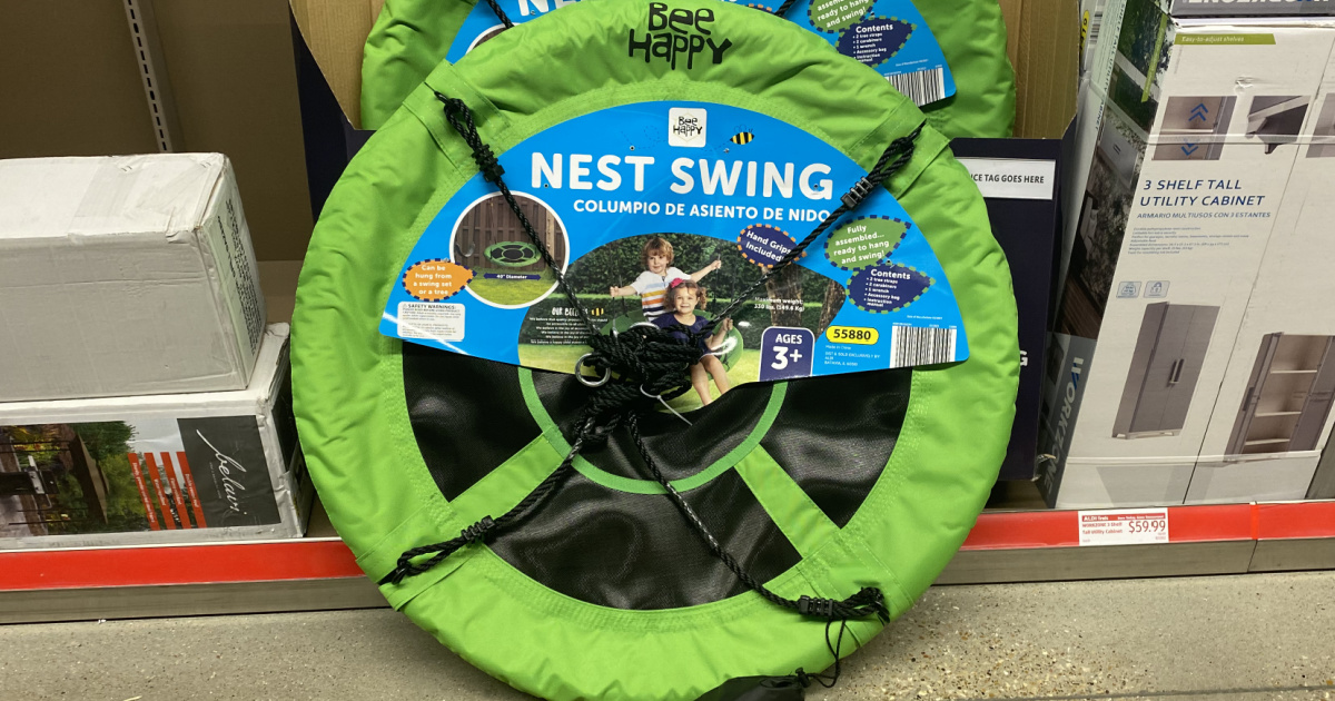 large green nest swing in store for display