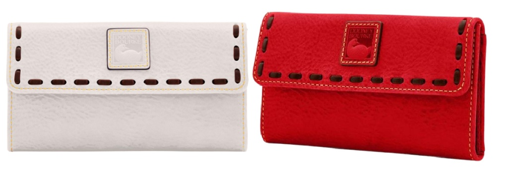 beige and red dooney and burke clutch