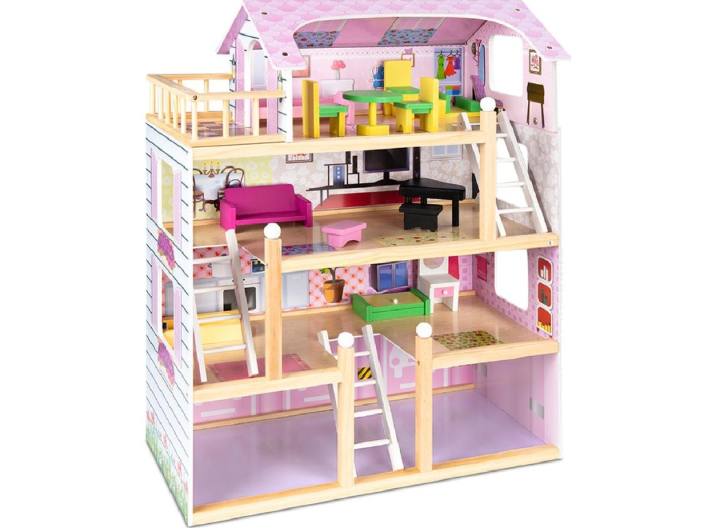 inside view of wooden multi-level dollhouse