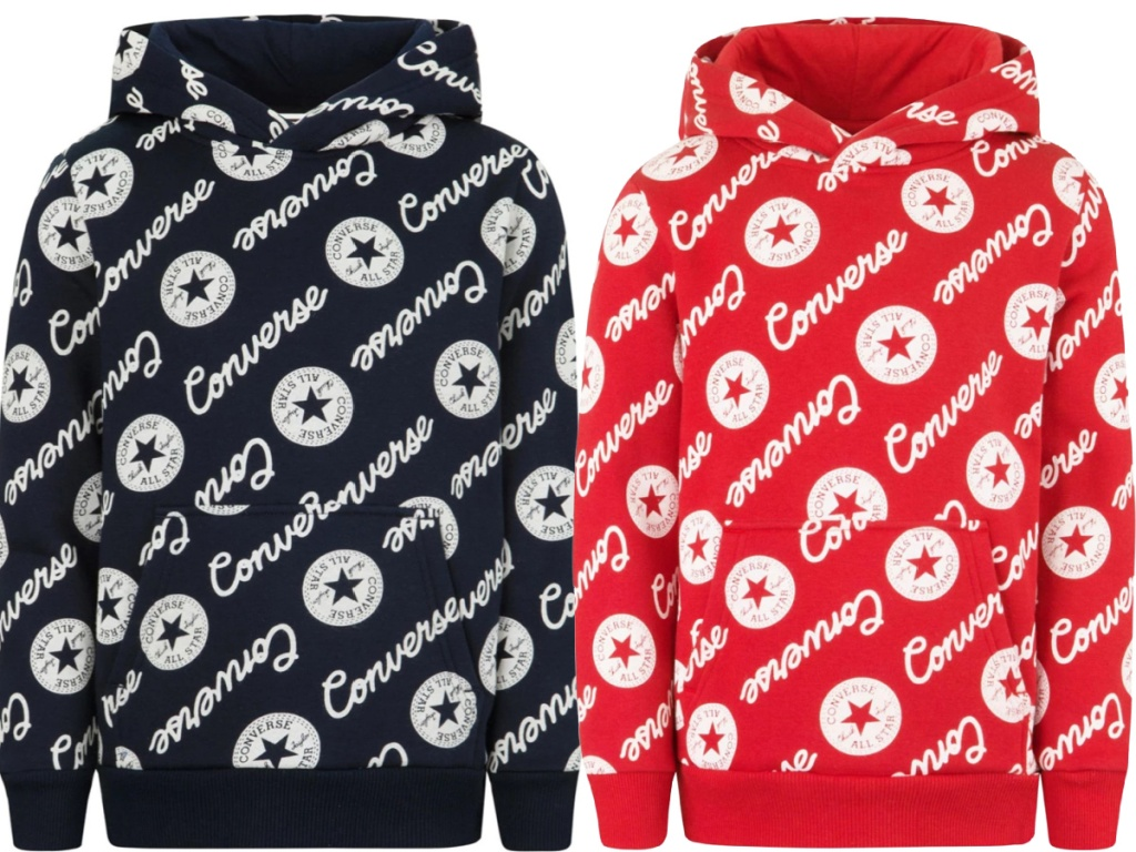 Black and red converse hoodies