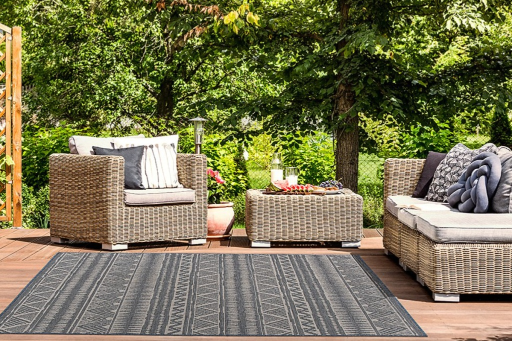 black boho outdoor rug