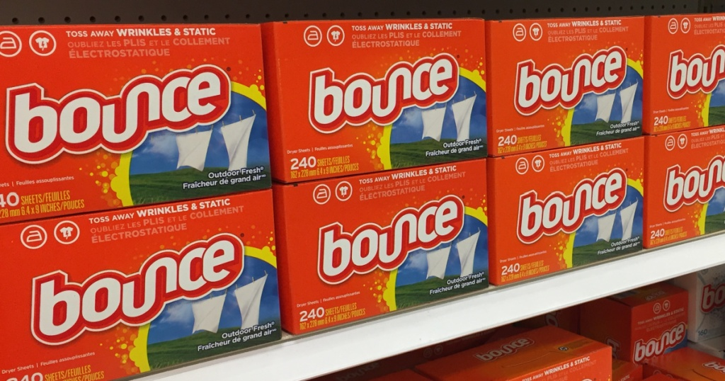 store shelves with packages of dryer sheets stacked up