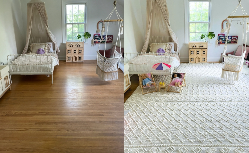 before and after of girls room with boho cream rug