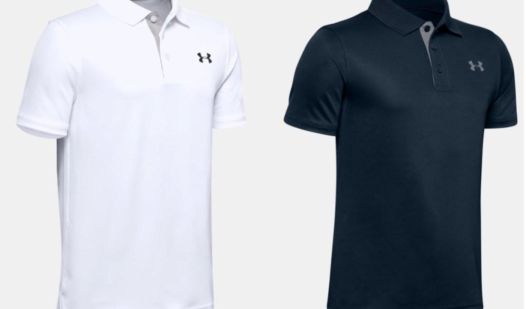 white and navy blue UA polo