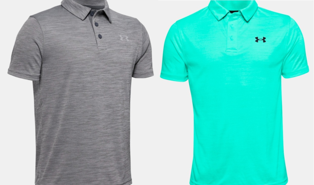 gray and mint polos