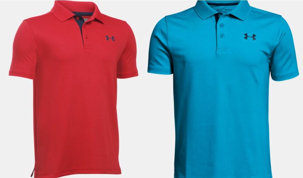 red and blue UA polos