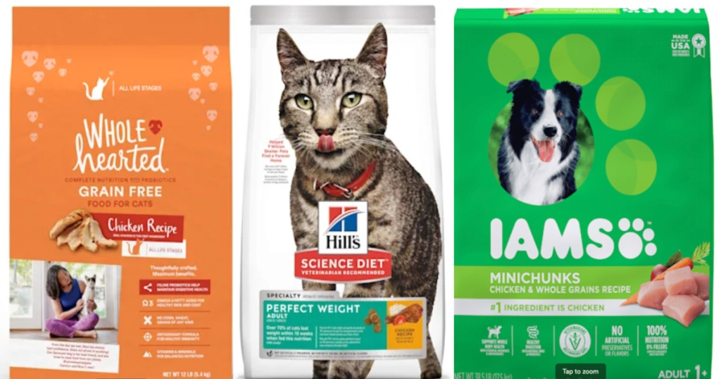 row of cat and dog food
