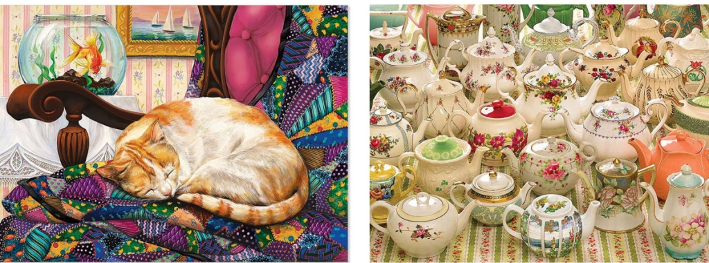 cat sleeping and tea cups puzzles