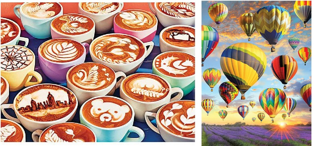coffee cups and hot air balloons puzzles