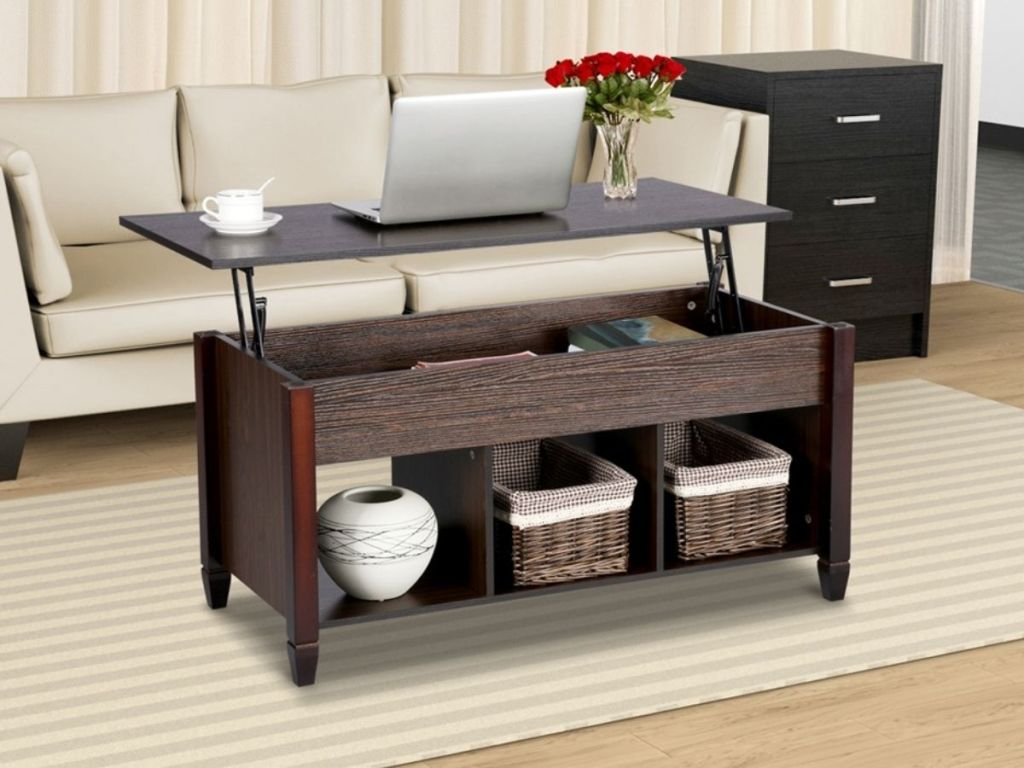 espresso lift top coffee table in living room
