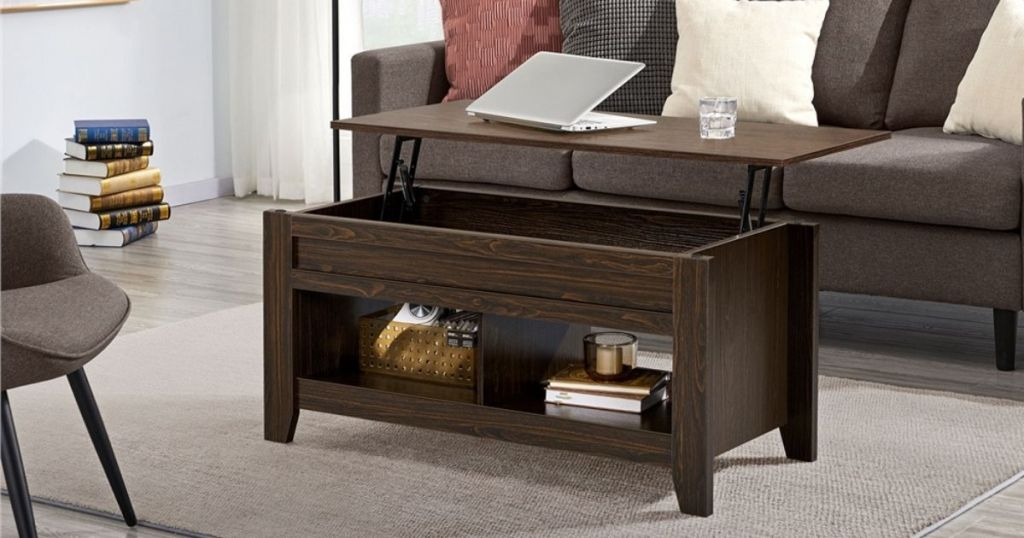 espresso lift-top coffee table in living room