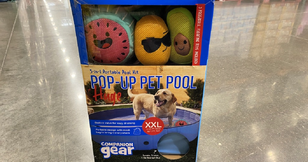 pop up pet pool in a box with toys on a store floor