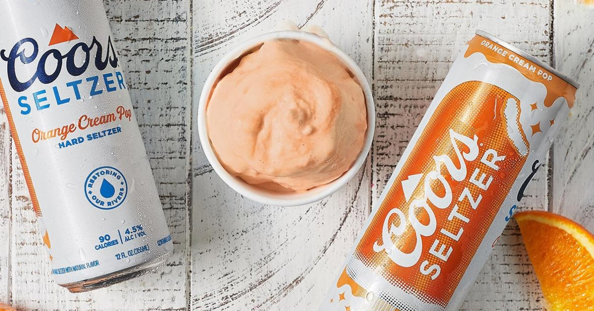orange ice cream next to cans of Coors Seltzer