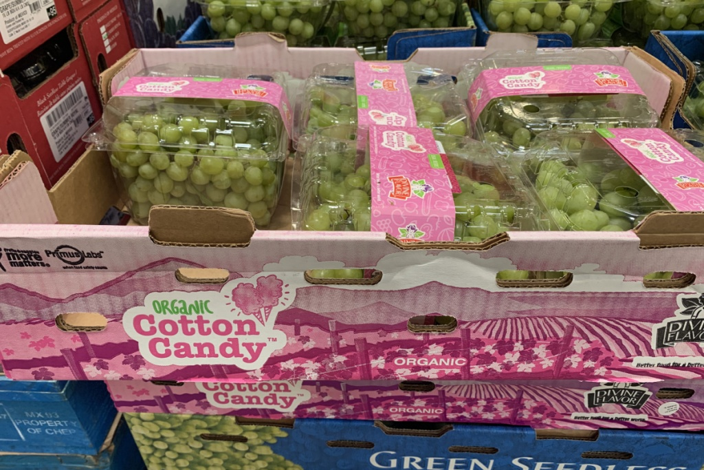 cotton candy grapes in cardboard box