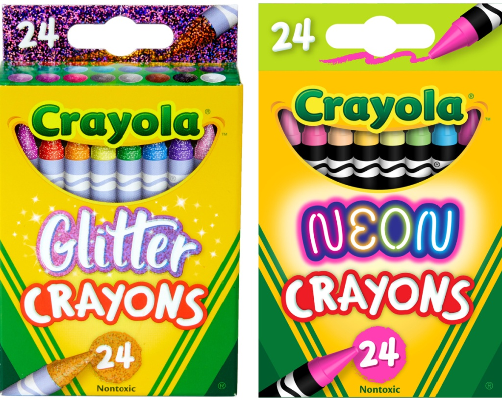 2 boxes of crayola glitter and neon crayons