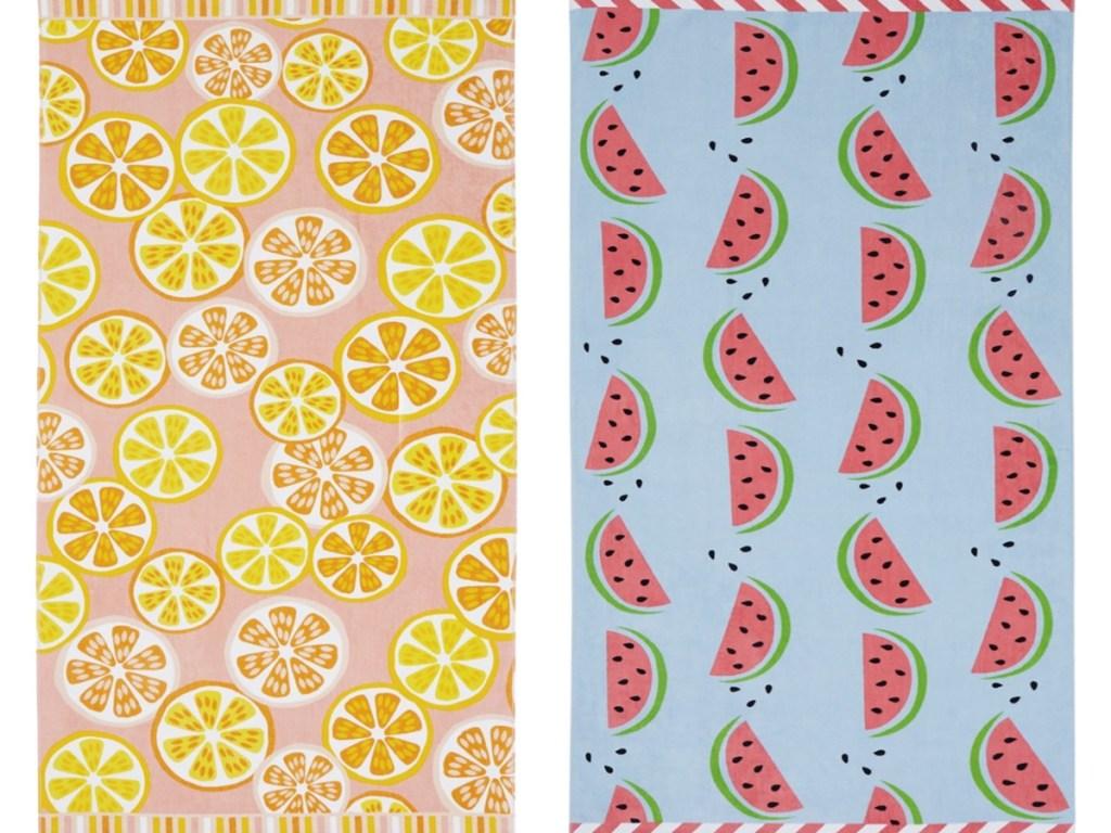 Lemon and watermelon beach towels