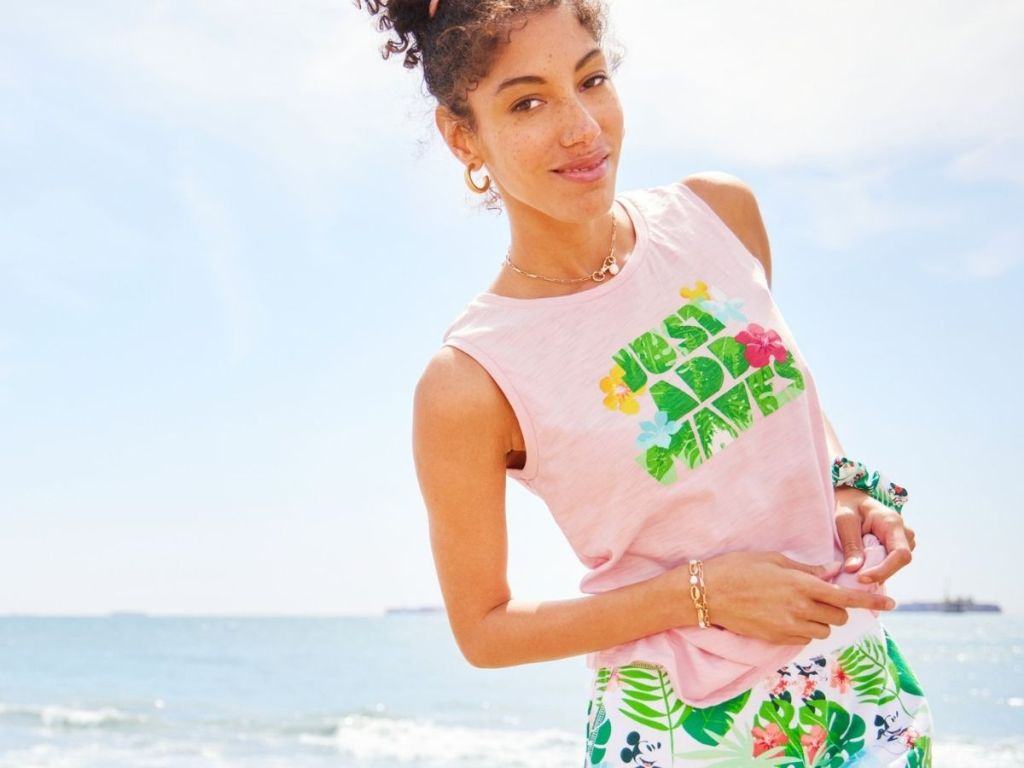 woman wearing tropical Disney tee