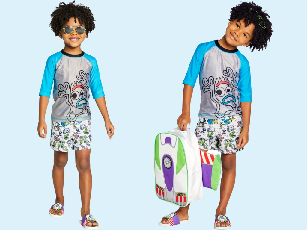boy wearing forky rash guard and trunks
