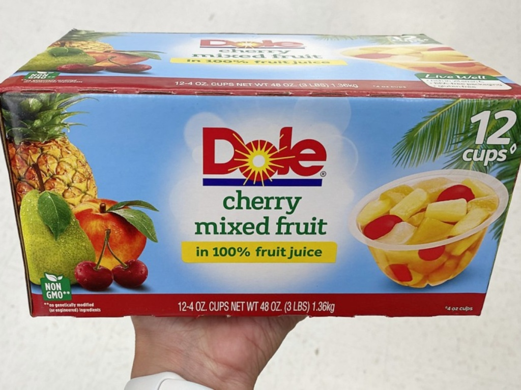 dole cherry mixed fruit cups in hand