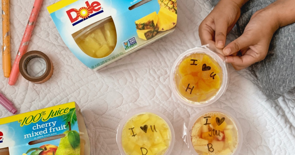 Dole mixed fruit cups with little hands