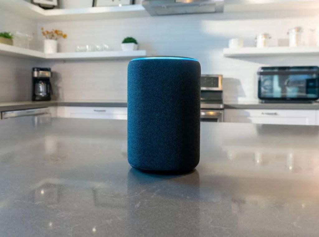 Amazon Echo speaker in kitchen
