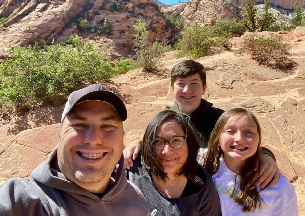 family in zion national park