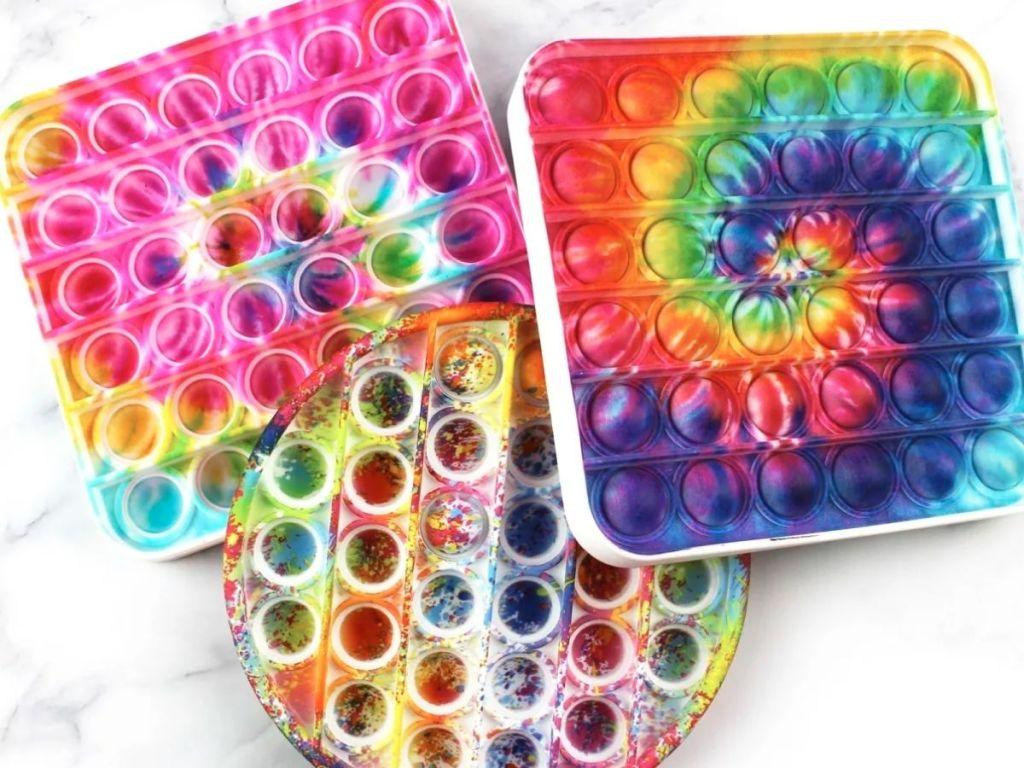 colorful tie dye fidget pop its