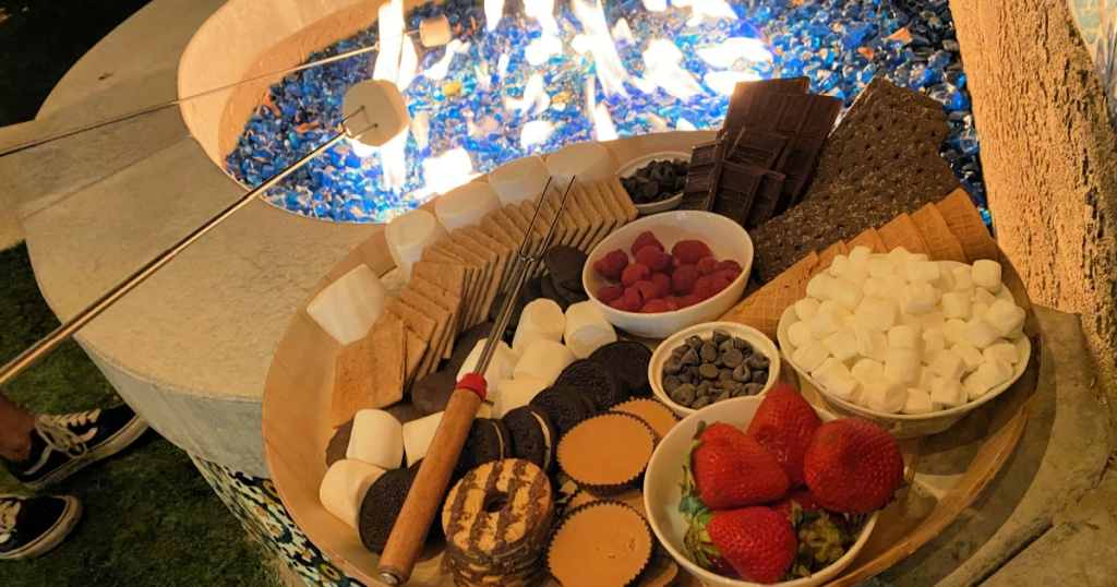 firepit with s'mores charcuterie board