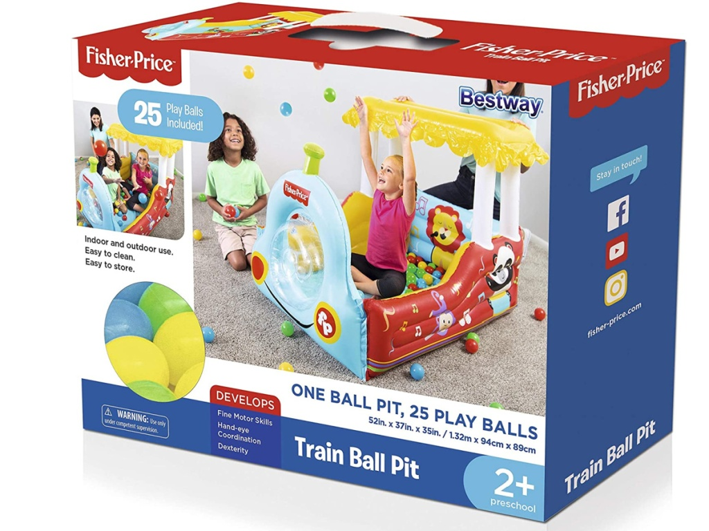 inflatable train-themed ball pit