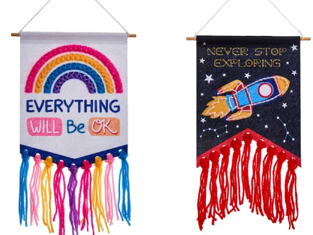two sewing flags