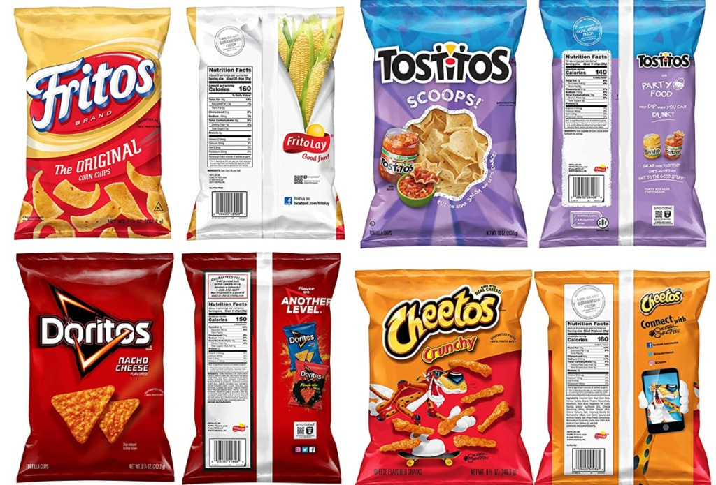 front and back of fritos, tostitos, doritos, cheetos