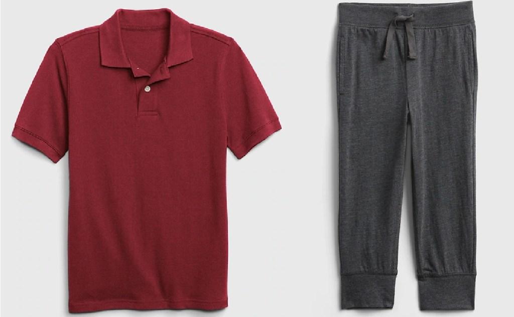 burgundy polo top and gray sweats