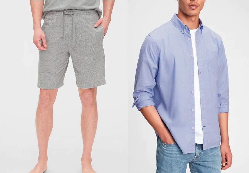 men wearing cotton shorts and blue button down shirt