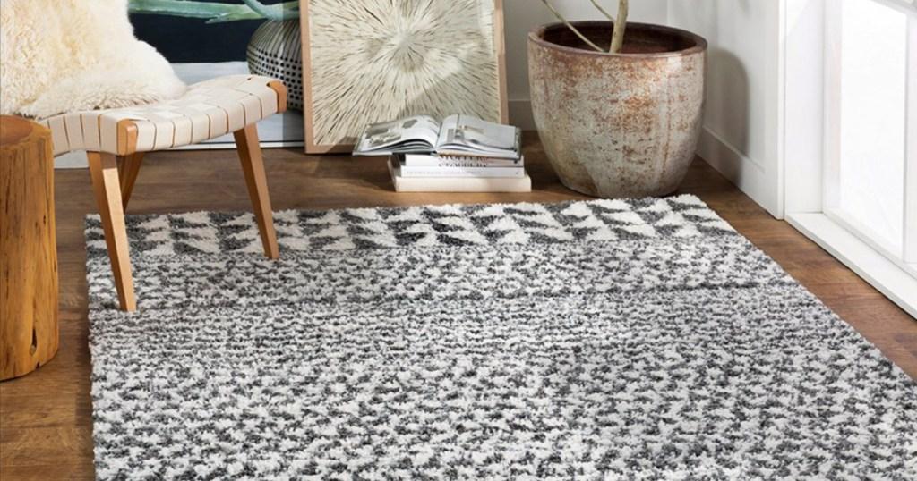 geometric boho shag rug
