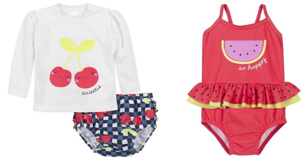 cherries swim set and watermelon swimsuit