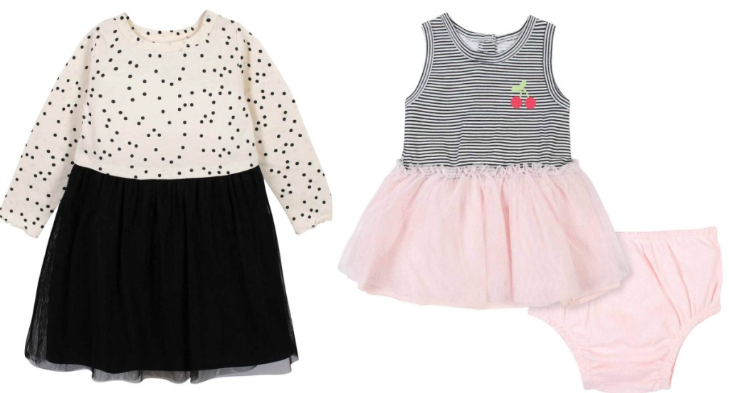 black and white dress and pink and black cherries dress