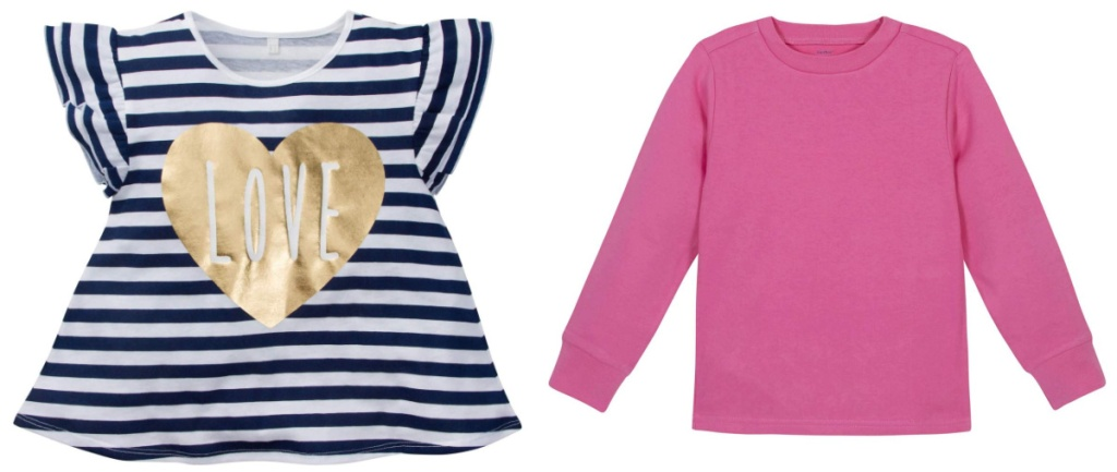 graphic tee and plain pink sweatshirt