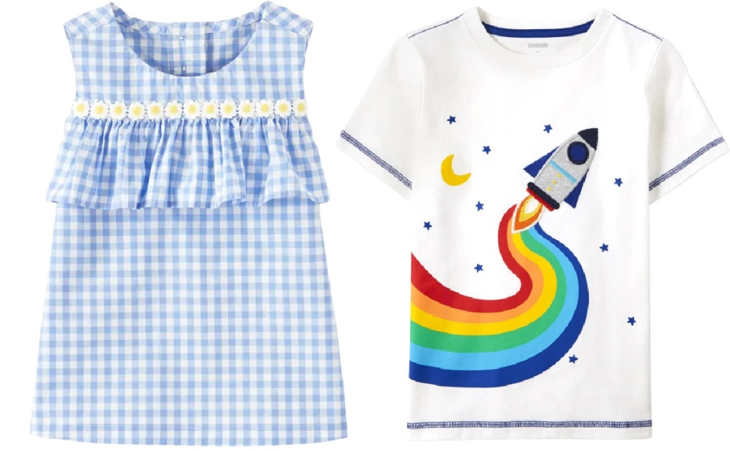 gingham ruffle top and rainbow rocket tee from gymboree