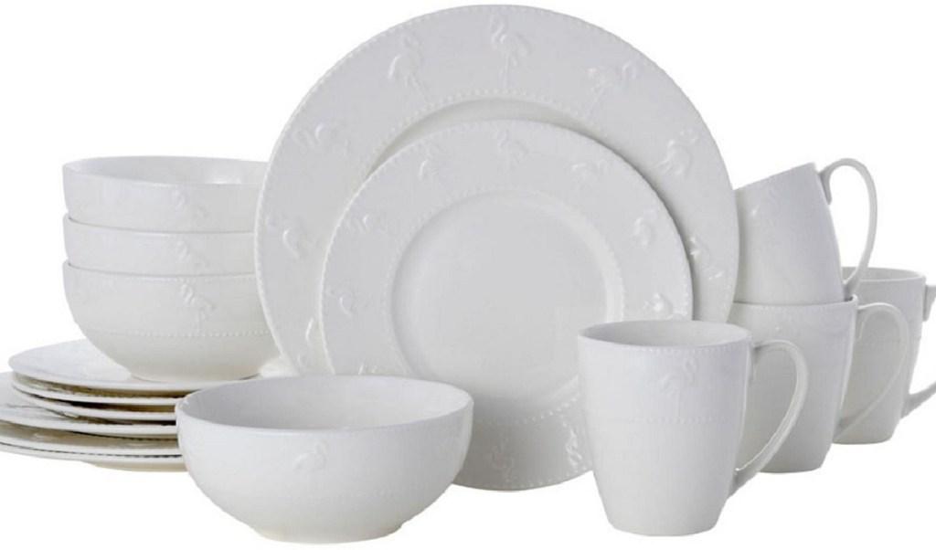 white set of dishes on white background