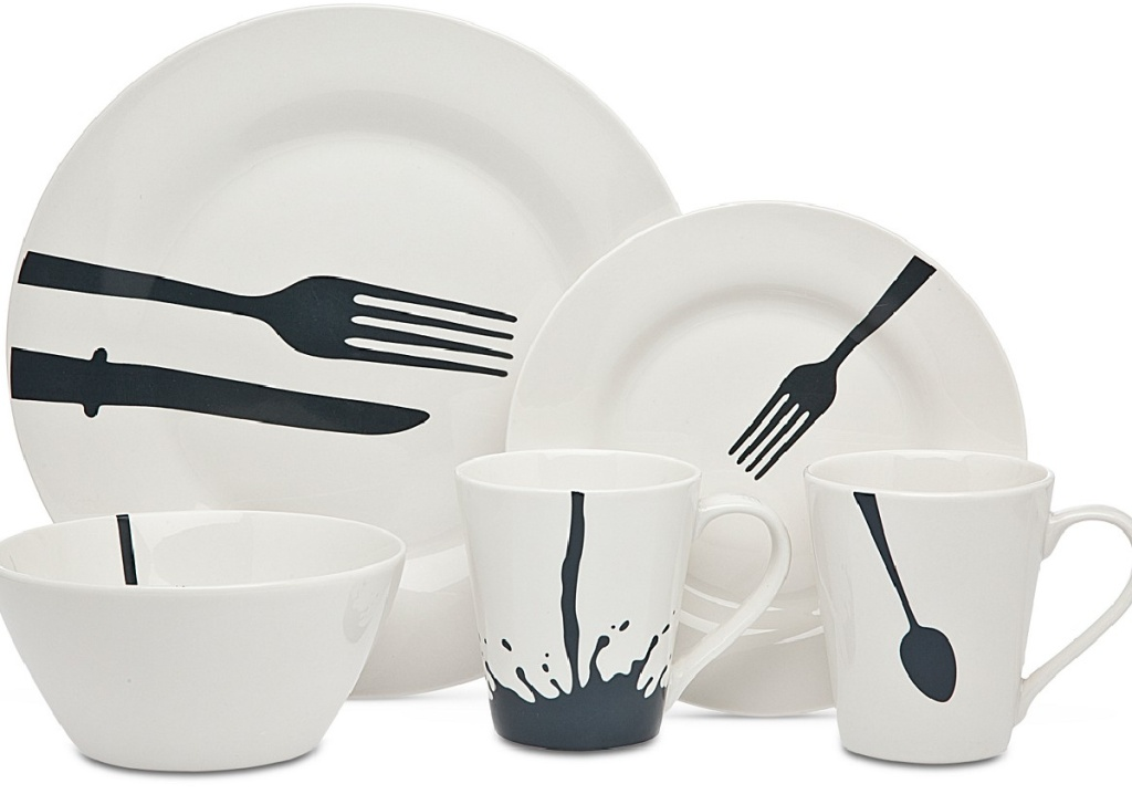 set of dinnerware in white and black