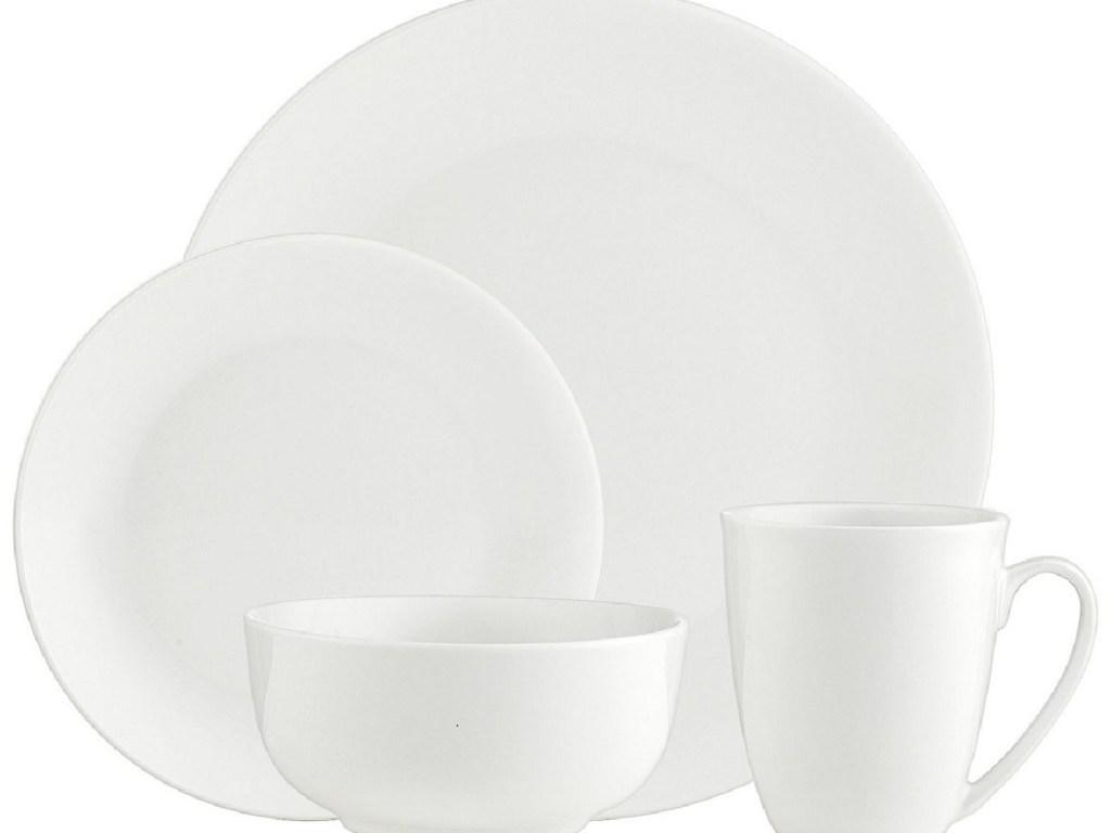 four piece white dinnerware set